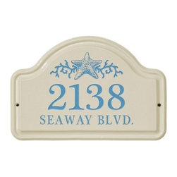White Hall Star Fish Ceramic Arch Address Plaque - Add a touch of coastal charm to your home with the White Hall Star Fish Ceramic Arch Address Plaque. This ceramic plaque features 2 lines for text and numerals and is easily visible on any home or wall. It features a star fish and coral graphic and is available with a variety of color options.About Whitehall ProductsWhitehall Products are known as the world's leading manufacturer of weathervanes and is equally as respected for their high quality personalized home wall plaques. They also offer a wide variety of mailboxes, garden accents, hose holders, birdbaths, bird feeders, sundials, and more. Each offers an original design and is hand cast for the highest quality product available. Based in Montague Michigan, Whitehall has been producing these popular products for over 65 years.