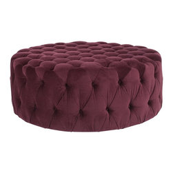 Safavieh - Charlene Ottoman - Bordeaux - Brimming with sophistication, the elegant Charlene Ottoman recalls the 1930s Hollywood glamour with its lavish bordeaux cotton fabric button-tufted on all sides. The oversized round shape and foam fill create a wonderful surface for use as a coffee table or extra seating.