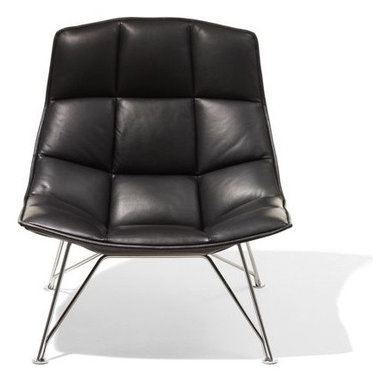 Knoll - Jehs+Laub Lounge, Wire Base Leather - The generous proportions and sweeping form of the Jehs and Laub Lounge (2008) make it a coveted seat for relaxing, napping or curling up with a book or laptop. In addition to designing furniture, Markus Jehs and J¸rgen Laub created the interior of Suite 606 at the 2007 IcehotelÆ in Sweden and the master concept for Mercedes-BenzÆ showrooms. This Lounge is stamped with the designersí signatures. Made in U.S.A.†