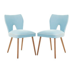 Safavieh Retro Blue Velvet Blend Side Chair - With limited space, furniture needs to be beautiful, functional and multitalented. These velvet dining chairs can easily work in the living area if more seating is needed.