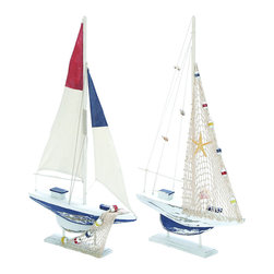 Benzara - Assorted Wooden Sailing Boat in Red and Blue Finish - Set of 2 - Give interiors a more appealing look with this assorted wooden sailing boat which is ideal for a sailor at heart. It features a combination of colors from underwater fauna along with a delightful oceanic blue that gives the sail boat a more adorable look. The sails of the boats are designed with distinctive detailing that adds to the overall appearance of set. One of the boats in the set features a netted sail that sports numerous small attachments of underwater beings while another boat is painted with a vibrant red and blue opaque, for a more eye catching appeal. The various patterns and balance of shades make this boat set very appeasing visually. An ideal addition to your collection of oceanic accessories, this set of sailing boats brings style and charm to interiors. It is available in 2 size variants - 28 in.  H x 17 in.  W x 3 in.  D, 28 in.  H x 17 in.  W x 3 in.  D.
