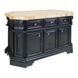 "Distressed Black Large Island with Three Drawers/Cabinets - This island features three drawers and cabinets on one side and three false drawers above a cabinet and wine rack on the reverse side. Drawers feature full extension soft-close slides.  Coordinating decorative hardware is included.  Maple grain butcher block top is 2 3/8"" thick."