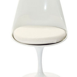 Eero Saarinen Style Tulip Side Chair with White Cushion - Having a comfortable place to sit while working all day is a must, and finding a chair that is both comfortable and chic is a plus. This Tulip chair will add comfort, support and style to any office.