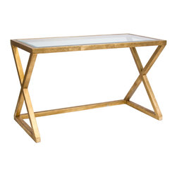 "Worlds Away - Worlds Away Mark Gold Leafed Desk/Console - A streamlined silhouette still hits high glam notes as the Mark desk is a study in style. Worlds Away's strong design resonates in its gold leaf X legs and a glass top. 48""W x 24""D x 29""H; Gold leaf frame; Beveled glass top"