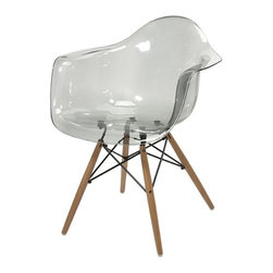 iMax - Beckett Grey Transparent Chair with Wood Leg - Featuring a modern and funky design concept, this trend-setting stylish chair incorporates a cutting edge grey transparent acrylic design with wood legs that transitions well in a variety of decor.