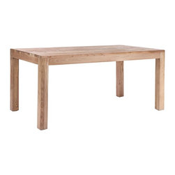 """Zuo - Zuo Fillmore Distressed Wood Dining Table - Simple and functional contemporary accent table. Solid elm wood construction. Natural distressed wood finish. Clean contemporary style. A chic addition to your home from Zuo Modern. 65"""" wide. 39 1/2"""" deep. 30 3/4"""" high. Some assembly required.     Simple and functional contemporary accent table.  Solid elm wood construction.  Natural distressed wood finish.  Clean contemporary style.  A chic addition to your home from Zuo Modern.  65"""" wide.  39 1/2"""" deep.  30 3/4"""" high.  Some assembly required."""