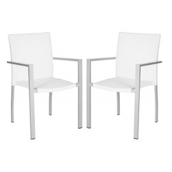 Safavieh - Cordova Indoor-Outdoor Stacking Armchair - A perfect balance of design and utility, the Cordova indoor-outdoor stacking armchair by Safavieh looks as chic for parties in the family room as it does on the patio. Crafted of easy-care off-white PE wicker with an aluminum frame, the transitional, weather resistant Cordova chair is sold in sets of two.