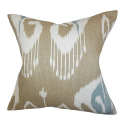 """The Pillow Collection - Cleon Ikat Pillow, Neutral 20"""" x 20"""" - This exotic looking accent pillow will turn your sofa, bed or couch into a sanctuary."""