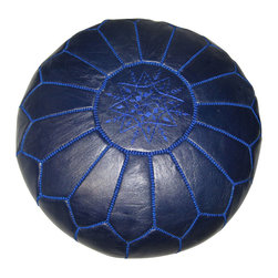 RR - Moroccan Pouf - Navy Blue Leather - Moroccan Pouf - Navy Blue Leather
