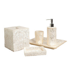 Six Piece White Wings Capiz Bathroom Set - Sparkling scales of pearly white tile each wall of the six accessories which make up the White Wings Capiz Bathroom Set.  Constructed with sustainable practices in the Philippines from the fine, translucent shells of the windowpane oyster which lives there, the traditional yet inexpressibly fresh decorative technique looks like the ivory scales of some mystic fish, an aquarian impression which is right at home in the upscale bathroom.