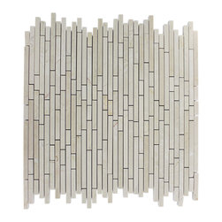 """Torpedo Crema Marfil Marble Mosaic Tiles - TORPEDO 1/4 X RANDOM CREMA MARFIL MARBLE PATTERN MOSAIC TILE This marble mosaic will provide endless design possibilities from contemporary to classic. It creates a great focal point to suit a variety of settings. The mesh backing not only simplifies installation, it also allows the tiles to be separated which adds to their design flexibility. Chip Size: 1/4"""" x Random Color: Crema Marfil Material: Marble Mosaic Finish: Polish Sold by the Sheet - each sheet measures 12"""" x 12"""" (1 sq. ft.) Thickness: 8mm"""