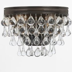 Crystorama - Crystorama Calypso Wall Sconce X-ZV-231 - Sleek and contemporary, the shiny banding brings to mind a handcrafted motorcycle. Pair that with artfully arranged cascading clear brown glass balls and teardrops, and the Calypso chandelier definitely doesn't look like your grandmother's chandelier.