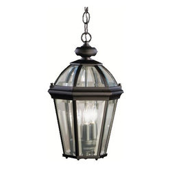 KICHLER - KICHLER 9851BK Trenton Traditional Outdoor Hanging Light - Utilizing classic design elements from colonial America, the Trenton Collection offers timeless design for today's aesthetic. Our striking Black finish helps recreate the look and feel of fixtures formed by blacksmiths hundreds of years ago. Skilled artisans re-create these handcrafted works of art from high quality cast aluminum with clear beveled glass panels to ensure the Trenton will last for years. This 3-light outdoor hanging lantern adds a dramatic touch to your home's veranda. It is U.L listed for damp locations. For additional chain order KCH-4297-BK.