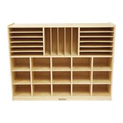 Ecr4kids - Ecr4Kids Multi-Section Classroom Storage Cabinet With Shelves/Rack For Storing - Mobile Multi-Section Classroom Storage Cabinet (with 15 Clear Totes)