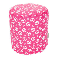 Indoor Hot Pink Peace Small Pouf
