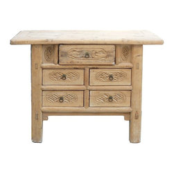 "Golden Lotus - Chinese Rustic Raw Draft Wood 5 Drawers Table - Dimensions:   w40"" x d19"" x h30.5"""