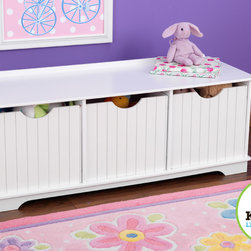 Kids Kraft - Kids Kraft Nantucket Storage Bench - This is kids kraft Nantucket Storage Bench For Kids. This Nantucket Storage Bench have an elegant furniture piece which helps a lot to keep your bedrooms clean and organized. Top bench played an seating role and its Three storage bins used to keep your kid's sports equipment, shoes, toys and much more. Its Bins slide are  in and out mode which is convenient to access the bench in the room. This bench is looks great when it placed at the foot of a child's bed.