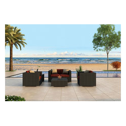 Urbana 4-Piece Modern Wicker Sofa Set, Henna Cushions