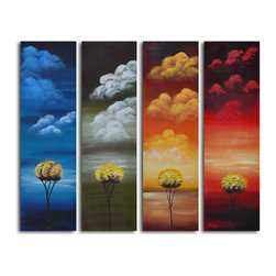 "Omax Decor - Many Moods of Solitude Hand painted 4 piece canvas set - Overall size: 40"" x 48"" (40"" x 12"" x 4pc). Enjoy a 100% Hand Painted Wall Art made with oil paints on canvas stretched over a 1"" thick wooden frame. The painting is professionally hand-stretched and ready to hang out of the box. With each purchase of our art you receive a one of a kind piece due to the handcrafted nature of the product."