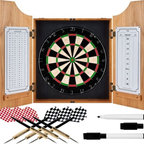 "Trademark Global - TGT Beveled Wood Dart Cabinet with Pro Style Board and Darts - This TGT Beveled Wood Dart Cabinet comes with everything you need to start playing. Features: -Includes a high quality, self healing dart board, 6 steel tip darts, dry-erase scoreboard, out chart, marker and mounting supplies. -Self healing sisal fiber. -Removable number ring. -Official 18"" diameter board. -Solid pine cabinet with bevel. -Dove tail joint construction. -Metal hinges. -Door mounted dry erase scoreboard and out chart. -2 Magnetic markers with erasers. -Dimensions: 24.75"" H x 21.5"" W x 3.5"" D."