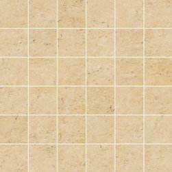Limestone Collection Cream Gold 2x2 Mosaics - Subtle organic beauty marks StonePeak's unglazed porcelain limestone.