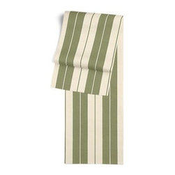 Green Racing Stripe Custom Table Runner - Get ready to dine in style with your new Simple Table Runner. With clean rolled edges and hundreds of fabrics to choose from, it's the perfect centerpiece to the well set table. We love it in this sage green and tan woven racing stripe. A classic alternative to the traditional awning stripe that can work in any decor.