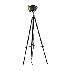 """Ethan Adjustable Tripod Floor Lamp In Restoration Black - Ethan Adjustable Tripod Floor Lamp in restoration black.  T he lamp measures 29""""W x 37""""H and  adjustable to a maximum of 74""""H. The shade measures  of 8""""W x  6""""H. The lamp uses a 60 Watt medium  bulb with an in line switch.   60 WATT LINE SWITCH Switch"""
