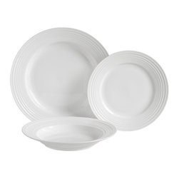 Luigi Bormioli - Luigi Bormioli Vivendo 12 pc. Dinnerware Set - HD32060 - Shop for Sets from Hayneedle.com! Add to or replace your existing dinnerware collection with this Luigi Bormioli Veridico 12 pc. Dinnerware Set which comes in an attractive white and features four dinner plates four dessert plates and four soup bowls everything you need to hold your family s favorite main courses cereals and pastries. The set was constructed from a material that combines the best of bone china and durable porcelain to form plates and bowls that have a high fracture and thermal shock resistance rating. The material is also less porous than porcelain and bone china by themselves making the dinnerware easy to clean resistant to stains and extremely hygienic. The plates and bowls are also dishwasher safe.About Luigi BormioliFounded in 1946 by Mr. Luigi Bormioli himself the Bormioli family continues Luigi s mission of commitment to great design traditional Italian craftsmanship and new innovative glassmaking technology to produce the world s most beautiful and durable glassware. Producers of wine glasses tumblers decanters and everything in between Luigi Bormioli is located in Parma Italy halfway between Bologna and Milan and is influenced by the region s reputation for art music and higher learning. Bormioli s glassmaking construction rivals fine crystal in its appearance but is 100-percent lead-free affordable and widely available.