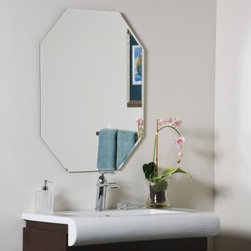 Frameless Bryant Wall Mirror - 23.5W x 31.5H in. - Keep things simple and elegant with the Frameless Bryant Wall Mirror. This gorgeous octagonal mirror is sure to add brilliance to any wall in your home. Constructed of metal and strong 3/16 glass it features a deep bevel design around the border. Mounting hardware is included with the mirror. Weighs 14 pounds. Dimensions: 31.5L x 23.5W x .5D inches.