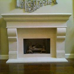 CAST STONE MANTEL - Limestone fireplace, custom mantels
