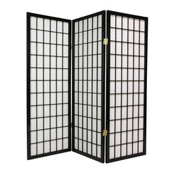 Oriental Unlimited - 4 ft. Tall Window Pane Shoji Screen (5 Panels / Walnut) - Finish: 5 Panels / WalnutBreathe life into a neglected hard to decorate corner with this enchanting black finished window pane Shoji screen. This paneled piece features white rice paper shades that filter light while concealing what lies behind them. Brass finished hinges bend both ways to maximize display angles. Screens may vary slightly in color. The new 48 in. window pane Shoji screen is a miniature counterpart to our popular full size window pane Shoji screen. The low height is perfect for hiding unsightly areas, fireplaces, kids' play areas or simply for adding a new design element to your space. The window pane design is the most traditional of shoji screens and complements a variety of decors. Shade is strong. Fiber reinforced, pressed pulp rice paper allows diffused light and provides complete privacy. Crafted from durable and lightweight Scandinavian Spruce. Panels are constructed using Asian style mortise and tenon joinery. Lacquered brass, 2-way hinges mean you can bend the panels in either direction. Black finish. Assembly required. Each panel: approximately 17.5 in. L x .75 in. W x 48 in. H