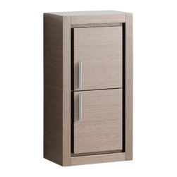 "Fresca - Fresca Gray Oak Bathroom Linen Side Cabinet w/ 2 Doors - Dimensions:  15.75""W x 10""D x 30""H. Materials:  Plywood w/ Veneer. 2 Soft Closing Doors. Perfect Match For All Fresca Allier ""Gray Oak"" Vanities. . . . . This attractive hanging side cabinet comes in a Gray Oak finish.  It features 2 spacious areas with 2 soft closing doors."