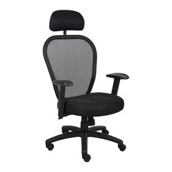 """Boss Chairs - Boss Chairs Boss Professional Managers Mesh Chair with Headrest - Thick padded contoured seat and air mesh back with built-in lumbar support. 2 to 1 synchro tilt mechanism with adjustable tilt tension control. Breathable mesh fabric seat with ample padding. Adjustable height armrests with soft polyurethane pads. Seat tilt lock allows the seat to lock in the upright position. Padded back frame. Pneumatic gas list seat height adjustment. Large 27"""" nylon base for greater stability. Hooded double wheel casters. With optional head rest."""