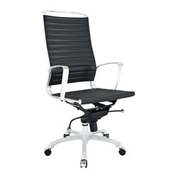 East End Imports - Tempo High back Office Chair in Black - Skip to a beat that your life's ambitions deserve. Tempo is a supercharged modern office chair that comes outfitted with all the amenities of its more stolid counterparts. The polished chrome-plated aluminum armrests portray a spirit on the rise, even as your arms find themselves properly positioned for the tasks at hand. The ribbed vinyl high back and seat pattern help evenly disperse your body's weight, while instilling a look that imbues momentum and a love for life. Tempo comes equipped with a tension control knob and tilt lock to further personalize the chair, while the pneumatic chair lever easily adjusts the chairs height. The 360 degree swivel will also keep your inner kid entertained at all times as well. Additionally, the hooded aluminum base comes equipped with five dual-wheeled casters for easy gliding over carpeted surfaces. Whether you are looking to buy one for yourself, or one-hundred for your office, Tempo is a chair that enhances productivity in the most natural ways possible.
