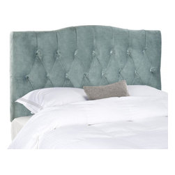 Safavieh - Jessica Twin Headboard - Dress up a guest room or master suite with the deeply tufted Jessica twin headboard.  With posh button-tufted upholstery in lush Wedgwood blue velvet, this comfortably padded, gently curved headboard evokes images of 1930s Hollywood glam.