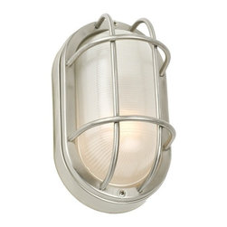 Design Classics Lighting - Oval Bulkhead Marine Wall Light - Energy Star Rated - 49856ES-1-SS - This tough, marine-style light is rated for outdoor use, yet attractive enough to feature indoors as well. The stainless steel construction will withstand extreme weather conditions. The bulb is protected by thick frosted glass and a stainless steel cage. It can be mounted on the wall or ceiling. Takes (1) 13-watt compact fluorescent spiral bulb(s). Bulb(s) included. UL listed. Wet location rated.
