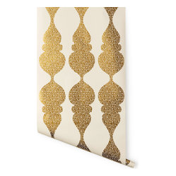 Carved Ogee Wallpaper, White & Gold
