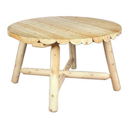 """Rustic Natural Cedar - Rustic Natural Cedar 020013B Round Table 4' w/ Umbrella Hole - This cozy round table is perfect for dining al fresco with a small circle of friends or family. A 3"""" hole in the center of the tabletop and the table base allows for an umbrella. Solid cedar construction ensures years of carefree use. Cedar is also naturally resistant to decay, insect, and weather damage and, when left untreated, the creamy natural color weathers gracefully to a silvery grey."""