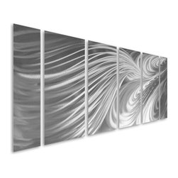 Pure Art - Regal Reasoning Abstract Hand Painted Metal Wall Hanging Set of 6 - Add a refined, affluent, and sophisticated touch to your home or office decor with this decadent wall art hanging group! The Regal Reasoning Abstract Hand Painted Metal Wall Hanging Set of 6 features six individually handcrafted metal wall art panels that are also painted by hand using premium materials and the best grade aluminum.  Large work of metal wall art features an abstract design that travels the length of six monochrome panels.  Hang this fun and stylish metal wall art on any wall in the home or office where you are looking to add a dramatic yet regal focal point that will turn headsMade with top grade aluminum material and handcrafted with the use of special colors, it is a very appealing piece that sticks out with its genuine glow. Easy to hang and clean.