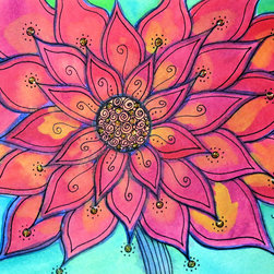 """Groovy Gal Designs Online - Funky Flower Watercolor and Ink Artwork - Beautifully vibrant watercolor and ink piece featuring a red flower.  Each petal has little daubs of gold glitter to catch the light.  Great for a bright pop of color in your home or office, this unframed piece measures 5"""" x 7"""".  Slips easily into a standard frame.  Your one-of-a-kind piece will be carefully packaged and will ship from Houston, Texas via USPS.  Thank you for browsing my work and for supporting independent artisans!"""