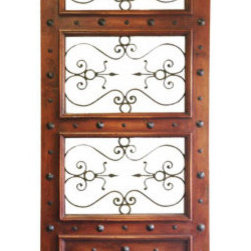 Koenig Collection - Old World Custom Door Houston, Mahogany With Antiqued Nail Head And Wrought Iron - Old World Custom Door Houston, Mahogany with Antiqued Nail Head and Wrought Iron