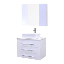 """Design Elements - Portland 30"""" Single Sink - Wall Mount Vanity Set in White - The Portland 30 vanity set in white is elegantly constructed of solid hardwood. The porcelain rectangular vessel sink and Carrera white marble countertop bring a clean, contemporary, and elegant look to any bathroom. The sink comes with a chrome finish pop-up drain, designed for easy one touch draining. The three vanity drawers run the width of the unit and are adorned with satin nickel hardware. The medicine cabinetwith mirror and two whiteside cabinets are all installed with soft closing hinges, providing plenty of storage space. The Portland Collection Bathroom Vanity is designed as a centerpiece to awe and inspire the eye without sacrificing quality, functionality, or durability."""