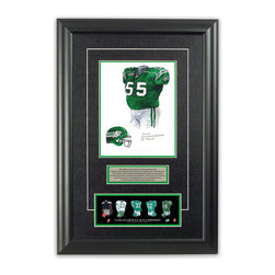 "Heritage Sports Art - Original art of the CFL 2005 Saskatchewan Roughriders uniform - This beautifully framed piece features an original piece of watercolor artwork glass-framed in an attractive two inch wide black resin frame with a double mat. The outer dimensions of the framed piece are approximately 17"" wide x 24.5"" high, although the exact size will vary according to the size of the original piece of art. At the core of the framed piece is the actual piece of original artwork as painted by the artist on textured 100% rag, water-marked watercolor paper. In many cases the original artwork has handwritten notes in pencil from the artist. Simply put, this is beautiful, one-of-a-kind artwork. The outer mat is a rich textured black acid-free mat with a decorative inset white v-groove, while the inner mat is a complimentary colored acid-free mat reflecting one of the team's primary colors. The image of this framed piece shows the mat color that we use (Bright Green). Beneath the artwork is a silver plate with black text describing the original artwork. The text for this piece will read: This original, one-of-a-kind watercolor painting of the 2005 Saskatchewan Roughriders uniform is the original artwork that was used in the creation of this Saskatchewan Roughriders uniform evolution print and thousands of other Saskatchewan Roughriders products that have been sold across North America. This original piece of art was painted by artist Nola McConnan for Maple Leaf Productions Ltd. Beneath the silver plate is a 3"" x 9"" reproduction of a well known, best-selling print that celebrates the history of the team. The print beautifully illustrates the chronological evolution of the team's uniform and shows you how the original art was used in the creation of this print. If you look closely, you will see that the print features the actual artwork being offered for sale. The piece is framed with an extremely high quality framing glass. We have used this glass style for many years with excellent results. We package every piece very carefully in a double layer of bubble wrap and a rigid double-wall cardboard package to avoid breakage at any point during the shipping process, but if damage does occur, we will gladly repair, replace or refund. Please note that all of our products come with a 90 day 100% satisfaction guarantee. Each framed piece also comes with a two page letter signed by Scott Sillcox describing the history behind the art. If there was an extra-special story about your piece of art, that story will be included in the letter. When you receive your framed piece, you should find the letter lightly attached to the front of the framed piece. If you have any questions, at any time, about the actual artwork or about any of the artist's handwritten notes on the artwork, I would love to tell you about them. After placing your order, please click the ""Contact Seller"" button to message me and I will tell you everything I can about your original piece of art. The artists and I spent well over ten years of our lives creating these pieces of original artwork, and in many cases there are stories I can tell you about your actual piece of artwork that might add an extra element of interest in your one-of-a-kind purchase."
