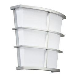 Kichler Lighting - Kichler Lighting Pavilion Energy Efficient Transitional Wall Sconce X-IS14401 - From the Pavilion Collection, this energy efficient Kichler Lighting wall sconce features a clean matte white acrylic shade that provides the perfect backdrop for the casual lines finished in a Silver hue. ADA compliant.