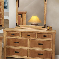 Artisan Home Furniture - Lodge Wood Rustic Dresser & Mirror Set - Includes dresser and mirror. Multi-step lacquer finish. Metal accents are oven treated and gives the occasional table a warm Lodge appearance. Full extension glides on drawers. Dovetail hardwood drawers. Crafted from selected hardwoods featuring Cottonwood and Alder. Dresser: 64 in. W x 19.25 in. D x 37.50 in. H. Mirror: 41.75 in. W x 2.75 in. D x 42.50 in. HCottonwood and Alder give this bedroom collection additional strength, durability and beauty. The wood tone lacquer coating gives depth, color and clarity to this outstanding bedroom. Enjoy casual elegance every night with your own Lodge Bedroom, a mountain retreat atmosphere in your home.