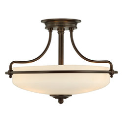 Quoizel - Quoizel GF1717PN Griffin Modern/Contemporary Semi Flush Mount Ceiling Light - This understated style provides a stylish, soft modern look for most any room. The etched shade is painted white inside, diffusing the light evenly and illuminating your home with a soothing glow. It is held in place by softly curved arms and is available in three finishes: Antique Nickel, Polished Chrome and Palladian Bronze