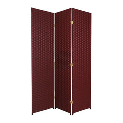 Oriental Furniture - 6 ft. Tall Woven Fiber Room Divider - 3 Panel - Red/Black - This six foot tall room divider is built from natural plant fiber woven over a lightweight wooden frame. Ideal for bringing an earthy, serene feeling to any room, this tall screen is perfect for dividing a space or adding privacy to a room.
