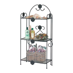 "Renovators Supply - Shelves Black Steel Floor Shelf Stand 38"" H x 18 1/2"" W - Glass shelves and trellis styling, crafted in the U.S.A. Floor Stand is gauged steel with baked on powder Black finish. 38"" high overall; 18 1/2"" wide with a 10 1/2"" projection. Each of three shelves 17"" X 9 1/4""."