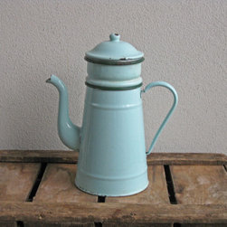 'Biggin' Mint Green French Enamel Coffee Pot by Histoires - I love this gorgeous vintage French enamel coffee pot. It's the perfect display for the kitchen. These are fast becoming one of my favorite things to collect.