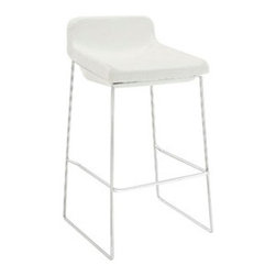 """LexMod - Garner Bar Stool in White - Garner Bar Stool in White - Benefit from the comfort of a lounge chair in this barstool made to please. Garner features a chrome plated aluminum frame and generously padded foam seat with upholstered fabric to keep you coming back for more. The deep-seated design and supportive backrest make this a modern piece that both looks and feels great. Garner also comes with a well-positioned footrest to help prevent slouching. Set Includes: One - Garner Bar Stool Modern barstool, Chrome plated steel frame, Foam seat upholstered in fabric, Built-in footrest, Assembly required Overall Product Dimensions: 19""""L x 19""""W x 34.5""""H Seat Dimensions: 17""""W x 29""""H Footrest Height: 11""""HBACKrest Height: 6""""H - Mid Century Modern Furniture."""